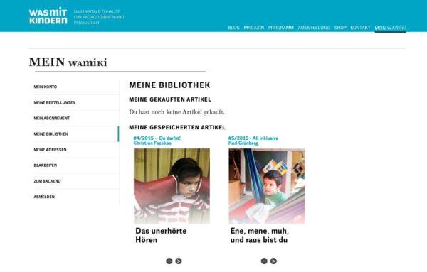 Webseite wamiki Bibliotheksfunktion